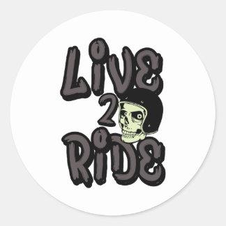 Live 2 Ride Skull Motorcycle Helmet Round Sticker