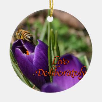 Live Deliberately w/honey bee pollinating Crocus Round Ceramic Decoration