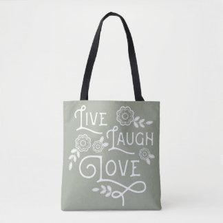 Live Laugh Love Polkadot Tote Bag