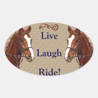 Live Laugh Ride! Horse Oval Sticker