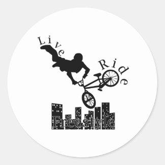 Live, Ride, Freestyle Round Sticker