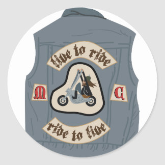 Live To Ride Round Sticker