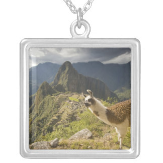 LLamas and an over look of Machu Picchu, Square Pendant Necklace
