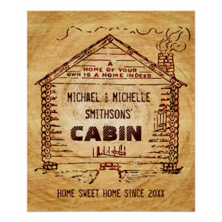 Log Cabin Personalized Faux Wood Poster