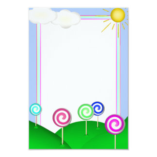 Lollipop land 9 cm x 13 cm invitation card