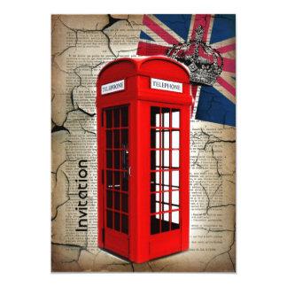london red telephone booth fashion british flag 13 cm x 18 cm invitation card
