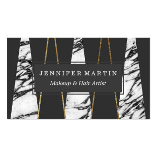 Long Modern Marble Black and Gold Triangles Pack Of Standard Business Cards
