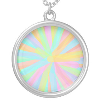 Looks Like Springtime - Colorful Abstract Round Pendant Necklace