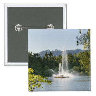Lost Lagoon Fountain, Stanley Park, Vancouver, 15 Cm Square Badge