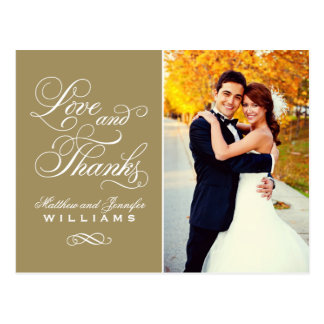 Love and Thanks | Antique Gold Wedding Thank You Postcard