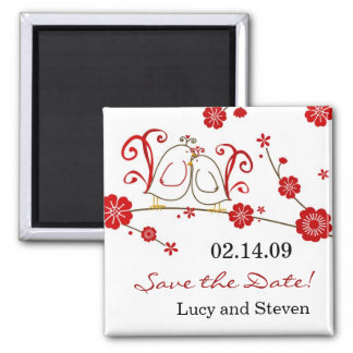 Love Birds & Cherry Blossoms Save the Date Square Magnet
