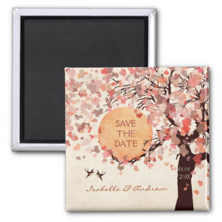 Love Birds - Fall Wedding Save the Date Magnet. Square Magnet