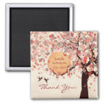 Love Birds - Fall Wedding  Thank You Favour Square Magnet
