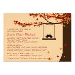 Love Birds Falling Hearts Oak Tree Bridal Shower 13 Cm X 18 Cm Invitation Card