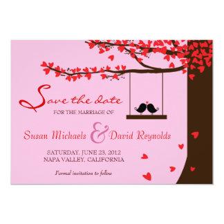 Love Birds Falling Hearts Oak Tree Save the Date 13 Cm X 18 Cm Invitation Card