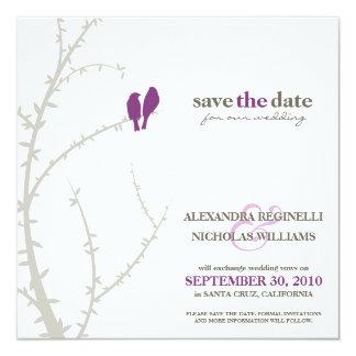 Love Birds Save the Date Announcement (purple)