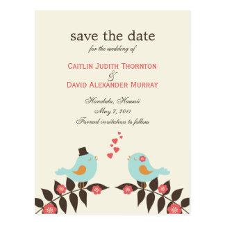 Love Birds Save The Date Card Postcard