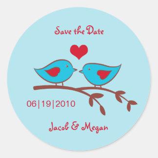 Love Birds Save the Date Label Round Sticker