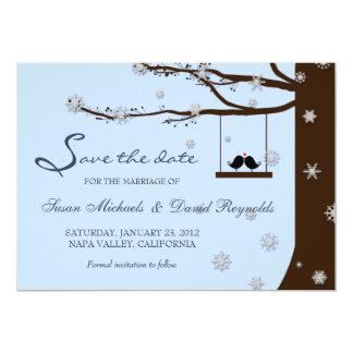 Love Birds Snowflake Oak Tree Winter Save the Date 13 Cm X 18 Cm Invitation Card