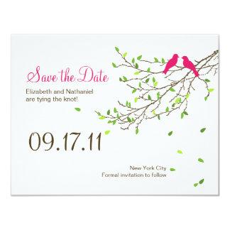 Love Birds Wedding Save the Date Magenta Greens 11 Cm X 14 Cm Invitation Card
