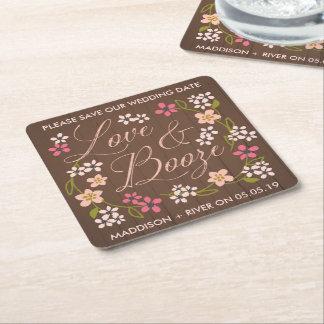 Love & Booze Save the Date Coasters Square Paper Coaster