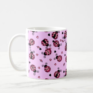 Love Bugs Pink Ladybugs Basic White Mug