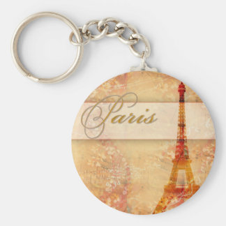 Love in Paris Basic Round Button Key Ring