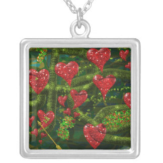 Love is Weird - Red Hearts on Strange Abstract Square Pendant Necklace