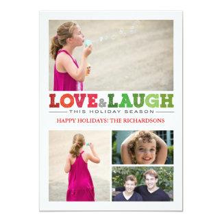 Love + Laugh x4 13 Cm X 18 Cm Invitation Card
