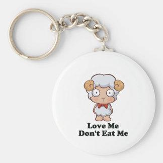 Love Me Don't Eat Me Sheep Design Basic Round Button Key Ring
