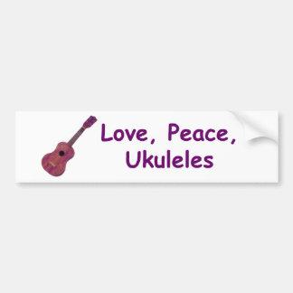 Love, Peace, Ukuleles Bumper Sticker