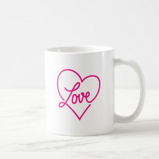 Love, pink heart basic white mug