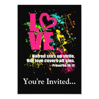 Love Proverbs Bible Verse Neon Paint Splatter 13 Cm X 18 Cm Invitation Card