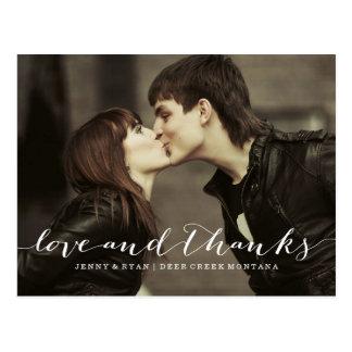 LOVE & THANKS SCRIPT 1 WEDDING THANK YOU POST CARD