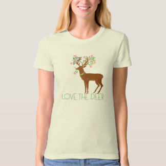 """Love The Deer"" Animal Lover And Flower TS19 T-shirts"