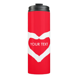 Loveley Hands of Heart white 2 + your ideas Thermal Tumbler