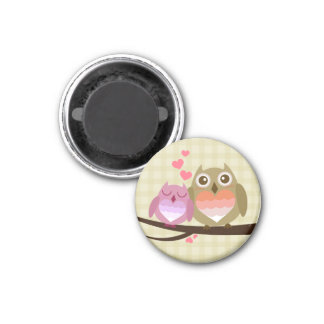 Lovely Cute Owl Couple Full of Love Heart 3 Cm Round Magnet