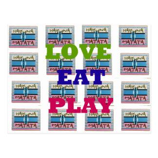 Lovely Love Eat Play Hakuna Matata Kenya shield gi Postcard