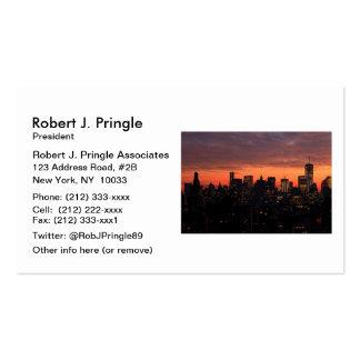 Lower Manhattan Skyline at Twilight, Pink Sky A1 Pack Of Standard Business Cards