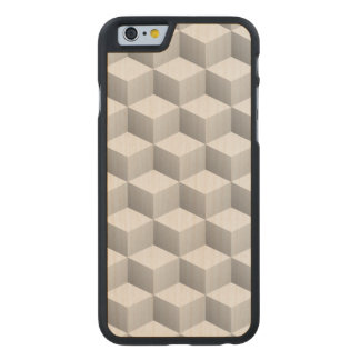 Lt Grey White Shaded 3D Look Cubes Carved® Maple iPhone 6 Case