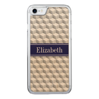 Lt Grey Wht 3D Look Cubes Navy Blue Name Monogram Carved iPhone 7 Case