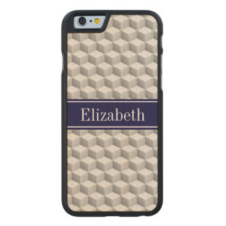Lt Grey Wht 3D Look Cubes Navy Blue Name Monogram Carved® Maple iPhone 6 Slim Case