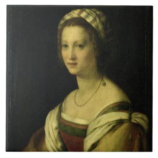 Lucrezia di Baccio del Fede, the Artist's Wife, c. Large Square Tile