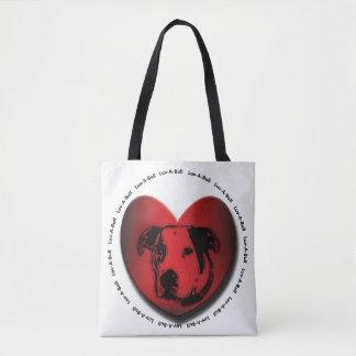 Luv-A-Bull American Bulldog Pit Bull Heart Tote Bag