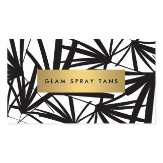 Luxe Bold Black and White Palm Leaves Spray Tan Pack Of Standard Business Cards