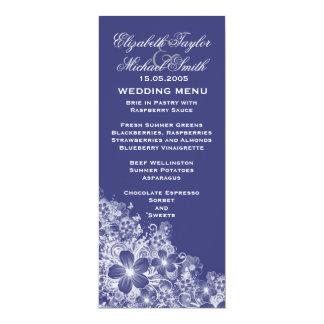 Luxury Blue Floral Spring Blanket Wedding Menu 10 Cm X 24 Cm Invitation Card