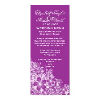 Luxury Purple Floral Spring Blanket Wedding Menu 10 Cm X 24 Cm Invitation Card