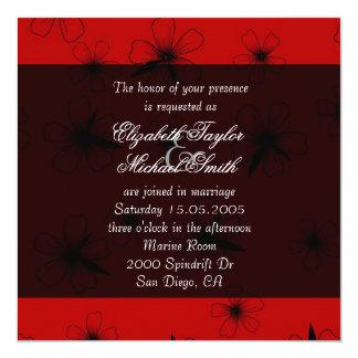 Luxury Red Floral Blanket Damask Wedding Invite