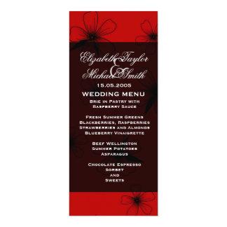 Luxury Red Floral Blanket Damask Wedding Menu 10 Cm X 24 Cm Invitation Card
