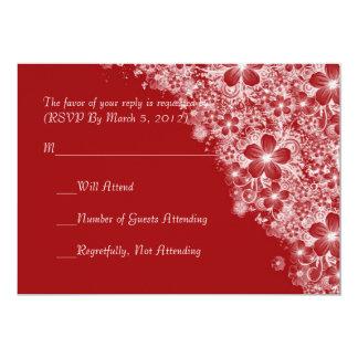 Luxury Red Floral Spring Blanket RSVP card 13 Cm X 18 Cm Invitation Card